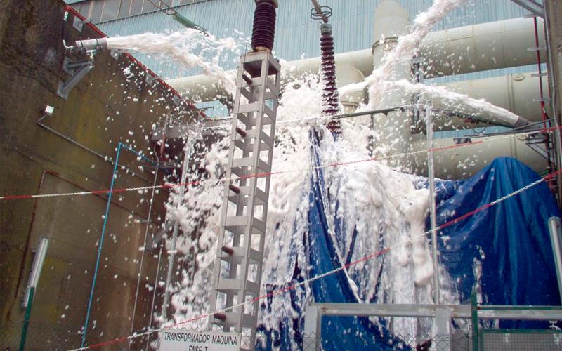Extinción automática de incendios por espuma